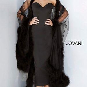 JOVANI Black Strapless Evening Dress with Cape